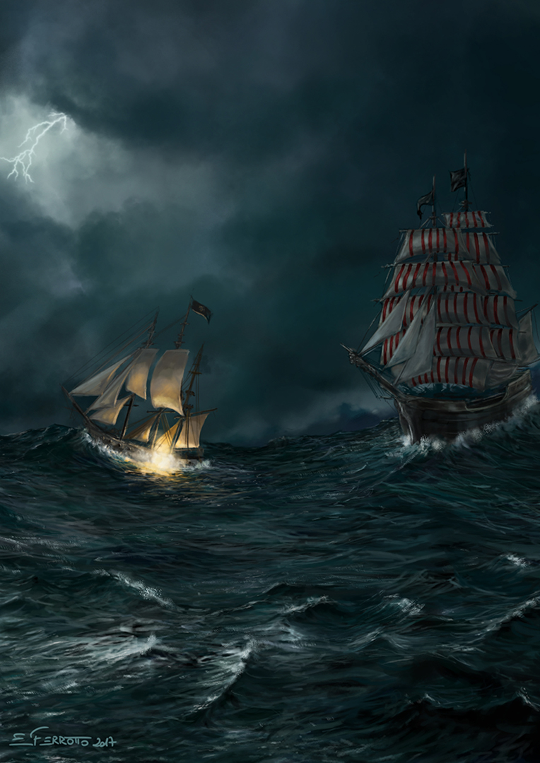 Sea storm Ship battle