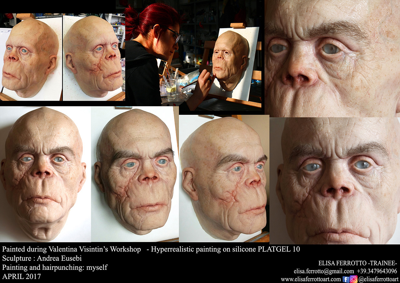 Hyperrealistic painting: silicone head
